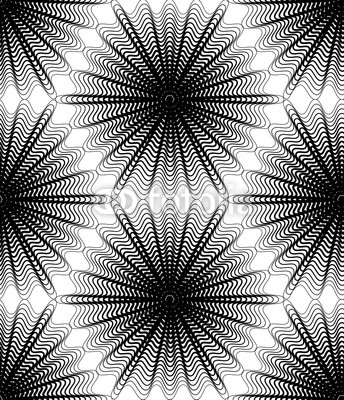 Black and white illusive abstract seamless pattern  geometric