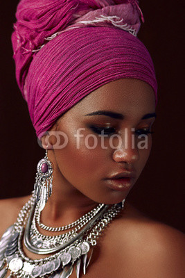 Ethnic beauty. Negro girl.