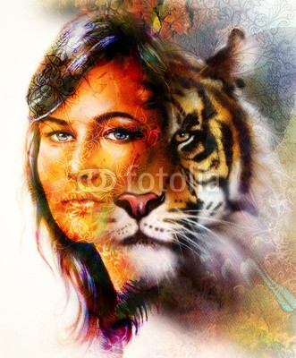 painting of a bright mighty tiger head on ornamental background and mystic woman face, computer collage.