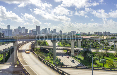 Miami downtown skyline and freeways
