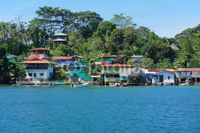 Coastal Caribbean village on an island of Panama