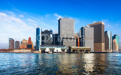 New York City skyline and waterfront viewed from the East River