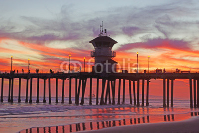 Beach Pier at Sunset in California