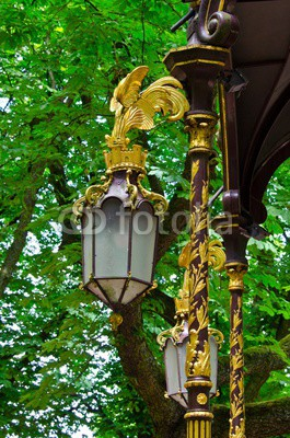 Golden lantern in a park