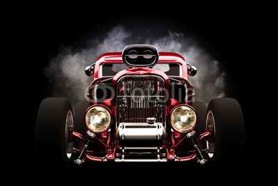 Hot rod z dymu tle