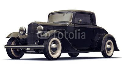 Vintage Black Car. Isolated on white background.