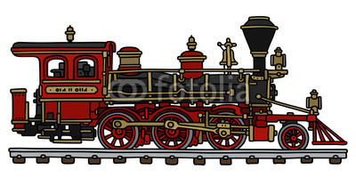 Old american steam locomotive / Hand drawing, vector illustration