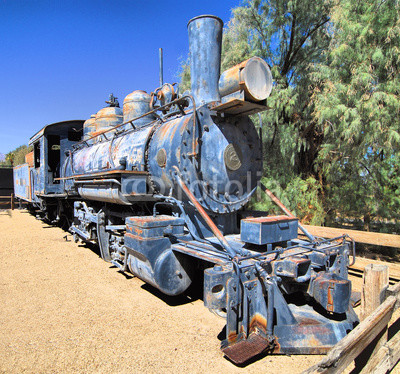 Blue Train / Old train in Death Valley Californis