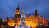 Castle Square with a Christmas tree in Warsaw