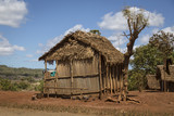 Typical malagasy wooden hut home