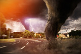 Large Tornado disaster on a road