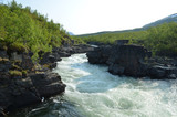 Abiskojokka river in canyon, Swedish Lapland