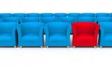 3D red seat between blue
