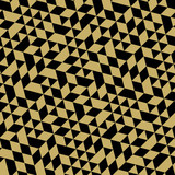 Geometric pattern with black and golden triangles. Seamless abstract background
