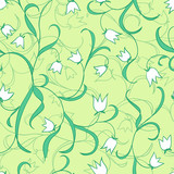 Lily of the valley. Vector floral pattern. Seamless curly texture. Floral ornament. Green plants background.