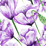 Purple poppy watercolor pattern