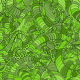 Green seamless pattern octopus