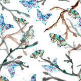 Watercolor seamless background with butterfly