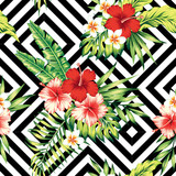 hibiscus and leaves tropical pattern, geometric background