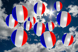 many balloons with france flag on sky