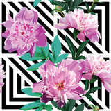 pink peony floral pattern, black and white background