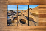 landscape photo collage frame on wooden background