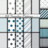 Set of 20 classic seamless patterns. Used for wallpaper, pattern fills, web page background, textures, classic ornaments.