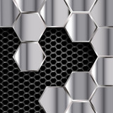 geometric pattern of hexagons with  metal plates
