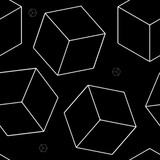Geometric seamless simple monochrome minimalistic pattern of cube shapes