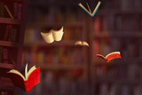 Illustration: The Falling Books. Realistic Fantastic Cartoon Style Artwork Scene, Wallpaper, Game Story Background, Card Design