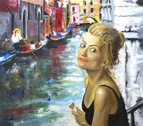 Art work. Oil painting. Beautiful girls in Venice Italy