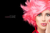 Fashion model girl with stylish dyed pink hair