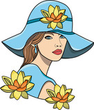 vector illustration of a beautiful girl with a large blu hat and flowers