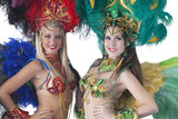 Beautiful samba dancers smiling and posing.