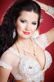 Beautiful woman bellydancer bright makeup girl