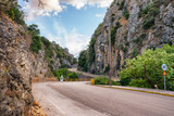 Road across of The Mountain Pass of Poros in Cephalonia, Ionian islands, Greece