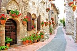 Picturesque lane with flowers in an Italian hill town