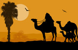 Camel caravan at sunset