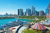 Chicago, Illinois: skyline e giostra, Navy Pier, 23 settembre 2014