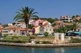 Buildings and palm tree in Vrboska on island Hvar, Croatia
