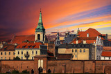 Sunset over old town of Torun, Poland.
