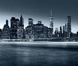 Panorama New York City at night