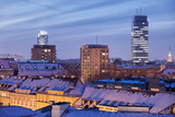 City of Warsaw Winter Night Skyline