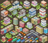 Big isometric set of buildings and houses. Infrastructure. Road