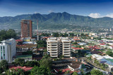 Elevated view of cityscape with mountain range in background, Costa Rica