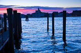 Red sky at sunrise in Venice near San Giorgio Maggiore church