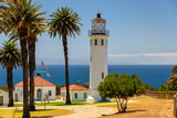 Point Vincente Lighthouse and palms, Los Angeles, California
