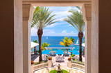 Outside terrace with stunning panoramic view. Caribbean Sea