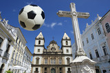 Football at Christian Cross Pelourinho Salvador Bahia Brazil
