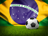 Soccer Background with Brazil Flag